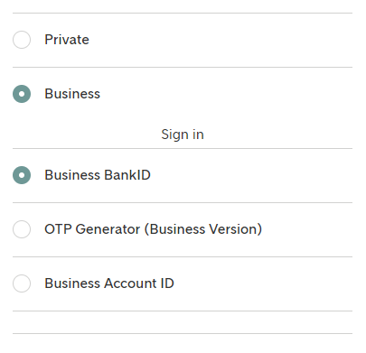"Example: Access Method with section ""Business"" expanded"